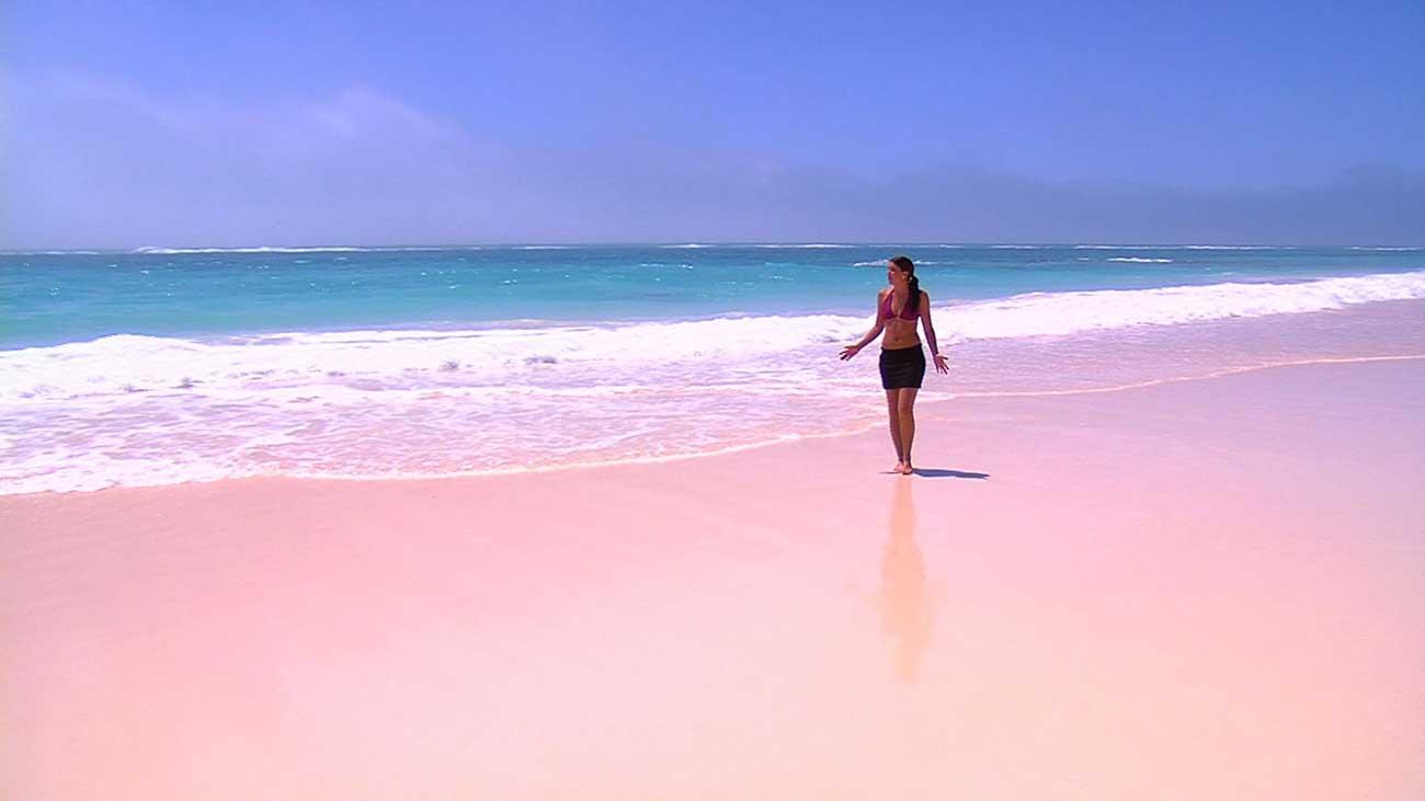 Розовый пляж на острове Харбор, Багамы.