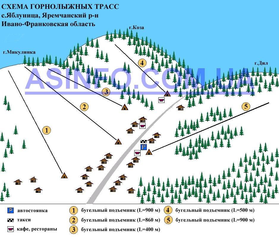 Схема маршрутов на курорте Яблуница