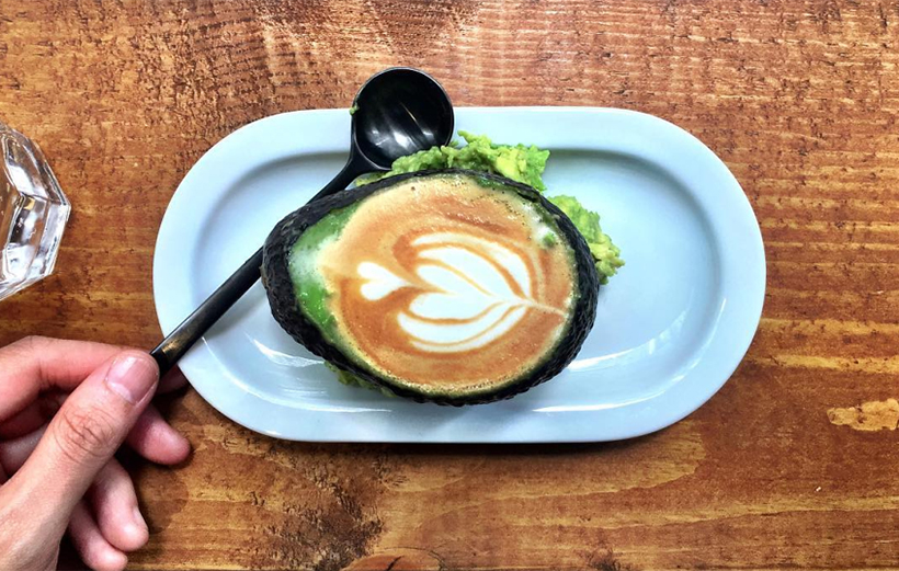 Кофе латте в кожуре авокадо, Аволатте