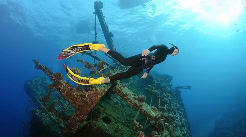 Дайвинг к затонувшему кораблю в Красном море