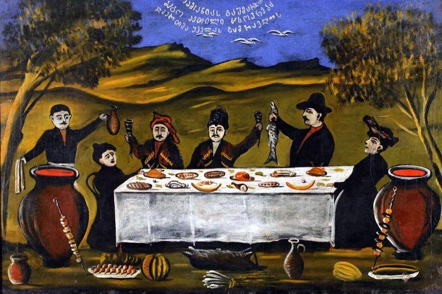 Картина «Компания Бего», Пиросмани