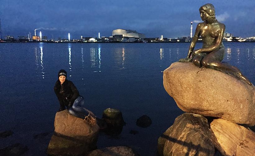 Бронзовая Русалочка в Копенгагене